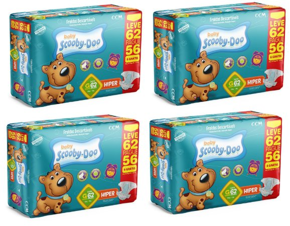 Fraldas Descartáveis Infantil Scooby-Doo G 248 unidades