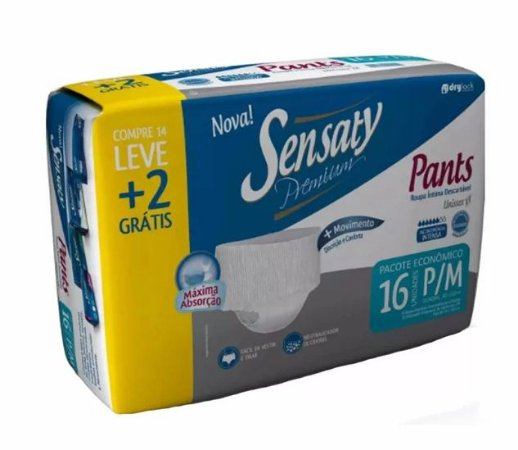 Roupa Intima Descartável-Sensaty Pants Unissex P/M 16 Unid.