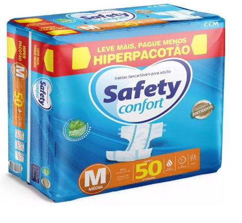 Fralda Geriatrica Safety Confort M-50 unidades