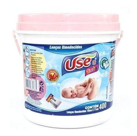 Balde Lenços Umedecidos Use It Baby- Rosa C/ 400 Unidades