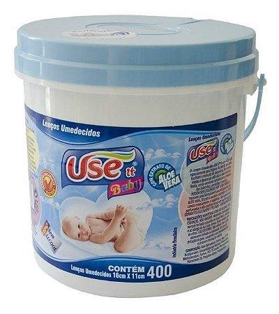 Balde Lenços Umedecidos Use It Baby- Azul C/ 400 Unidades