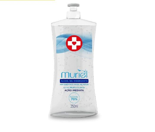 Álcool Gel Higienizante Muriel 70%-Antisséptico para as mão- Ação Imediata  250 Ml