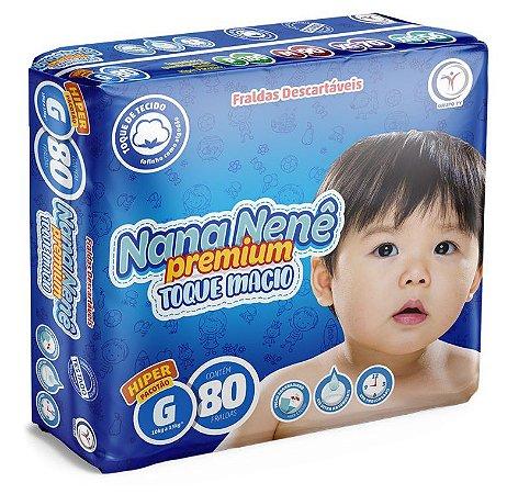 Fralda infantil Nana Nenê Premium Toque Macio G-80 unidades