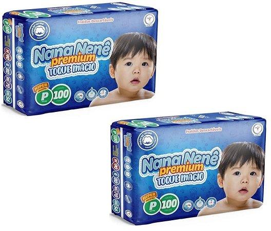 Fralda infantil Nana Nenê Premium Toque Macio P-200 unidades