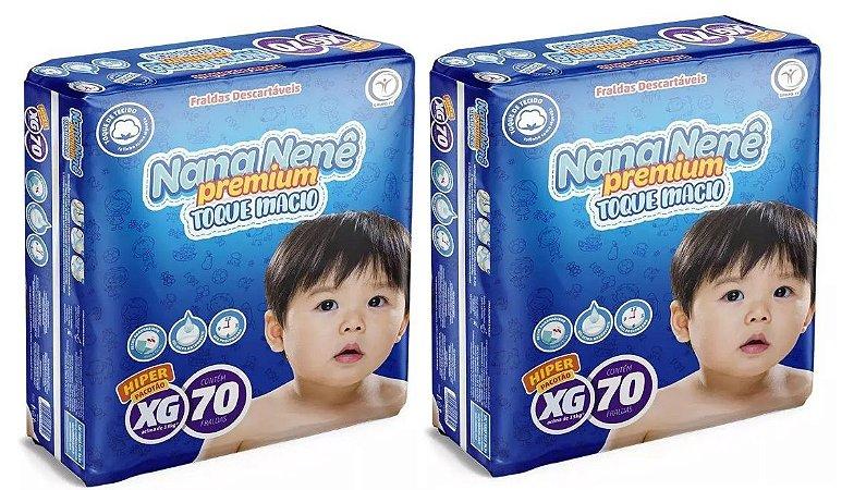 Fralda infantil Nana Nenê Premium Toque Macio XG-140 unidades