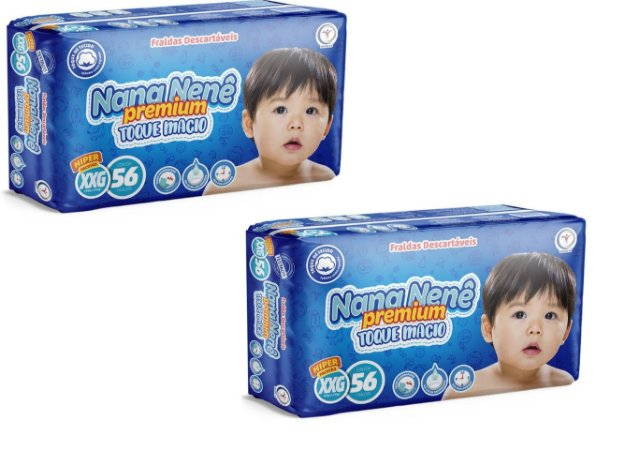 Fralda infantil Nana Nenê Premium Toque Macio XXG-112 unidades