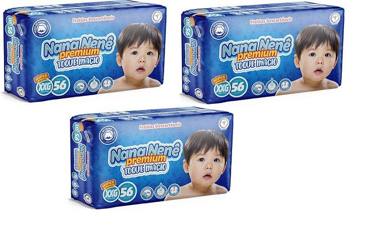 Fralda infantil Nana Nenê Premium Toque Macio XXG-168 unidades