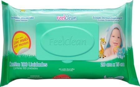 Toalhinhas Umedecidas Feelclean Baby - 100 unidades - Tampa Flip Flop