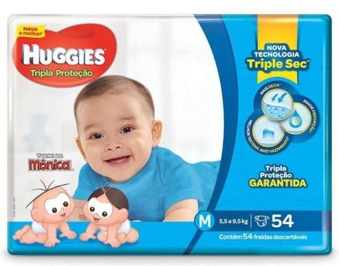 Fralda Infantil Huggies Turma da Mônica Tripla Proteção M 54