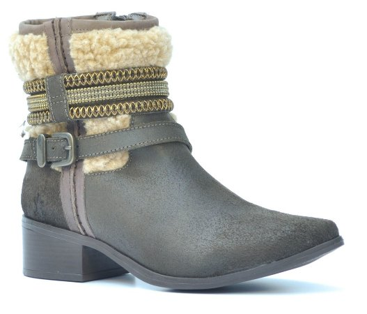 Bota Cano Baixo Salto Médio Wuell Casual Shoes - Winter - 508064 - Café