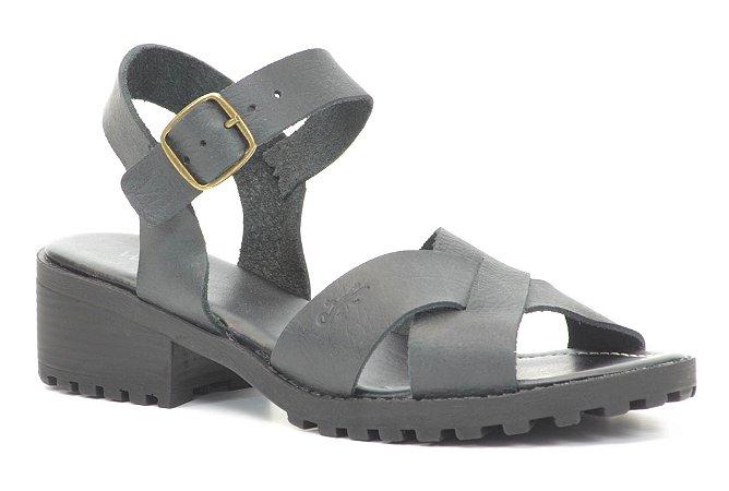 Sandália baixa Feminina Wuell Casual Shoes - 099407 - rústico preto