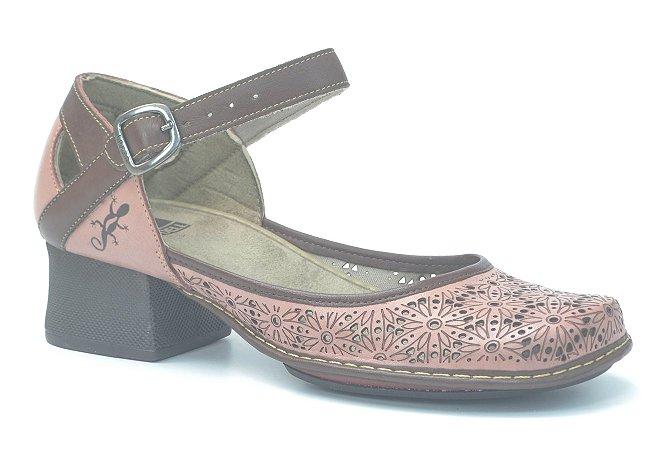 Sapato de Salto Médio Wuell Casual Shoes - Lincancabur - KC 4000 - nude  café
