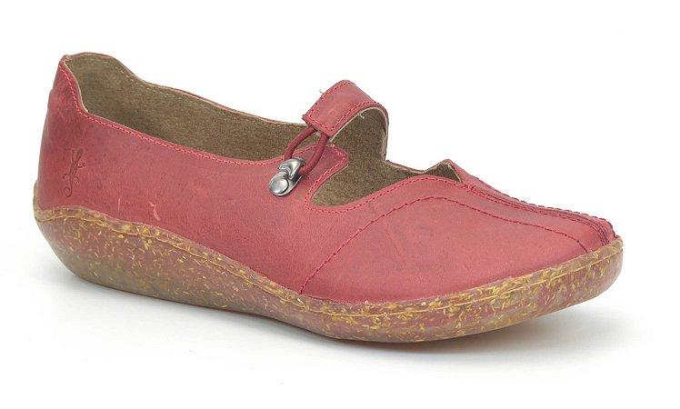 Sapato Feminino em couro Wuell Casual Shoes - Salar - 66107 RO - vermelho