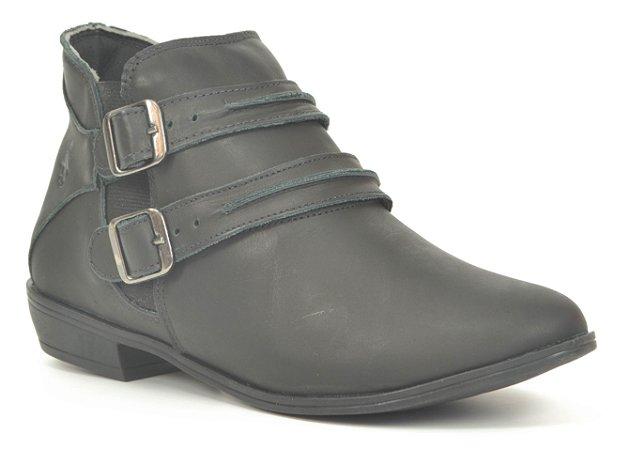 Bota Feminina em Couro salto baixo Wuell Casual Shoes - Tatio - VC 10 - preta