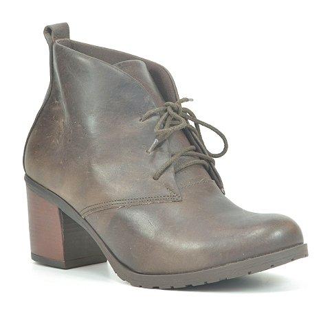 Bota Feminina em Couro salto médio Wuell Casual Shoes - Tatio - VC 40 - café