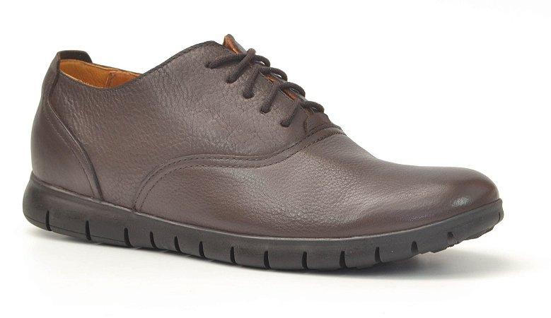 Sapato Masculino em Couro Wuell Casual Shoes - Zapaleri - TK 01774 - café