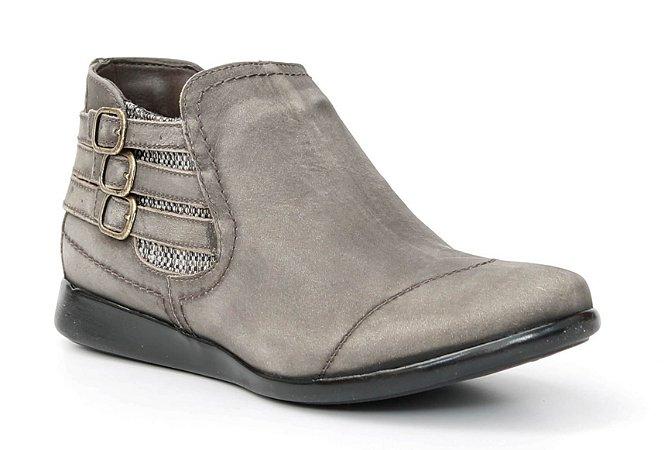 Bota Feminina em Couro baixa Wuell Casual Shoes - Valle de la Muerte- 102844 - cimento