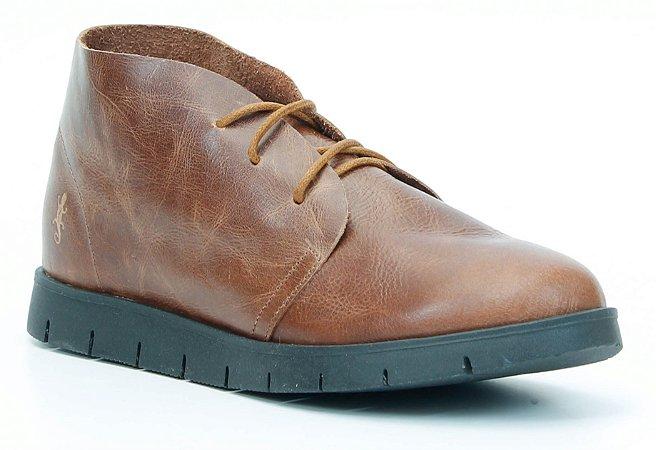 Bota Feminina em Couro baixa Wuell Casual Shoes - Quitor - CB 205 - whisky