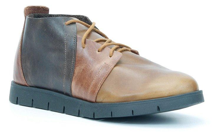 Bota Feminina em Couro baixa Wuell Casual Shoes - Quitor - SC 802 - fossil caramelo