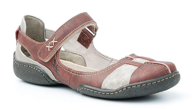 Sapato feminino em couro Wuell Casual Shoes - Lincancabur - LC 2500 - vermelho glace