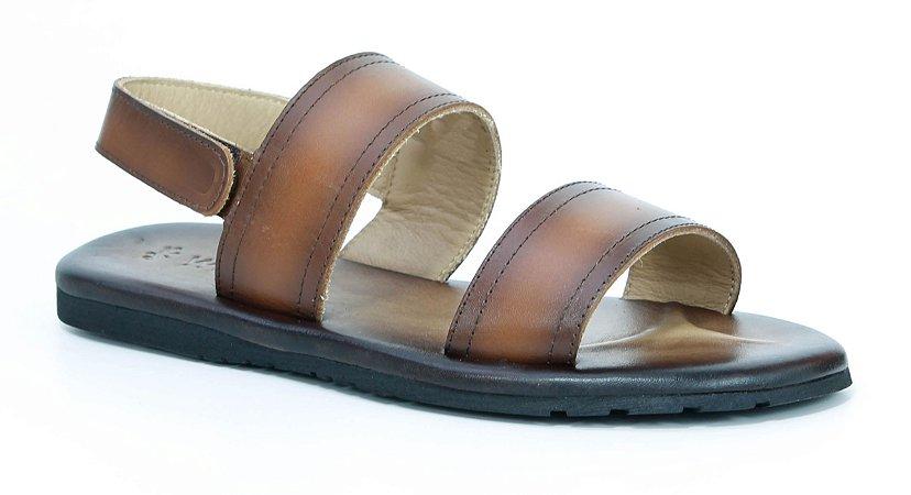 Sandália Masculina em Couro Wuell Casual Shoes - Zapaleri - PTS 0634 - whisky