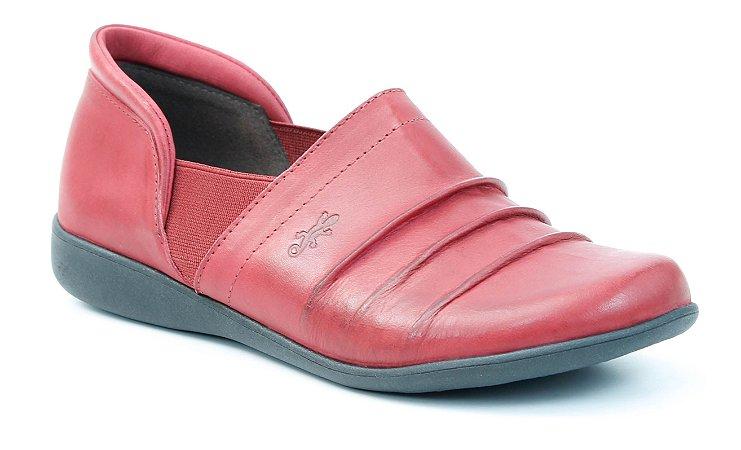 Sapato Feminino em couro Wuell Casual Shoes - Lavras Novas- VN 108641 - carmim