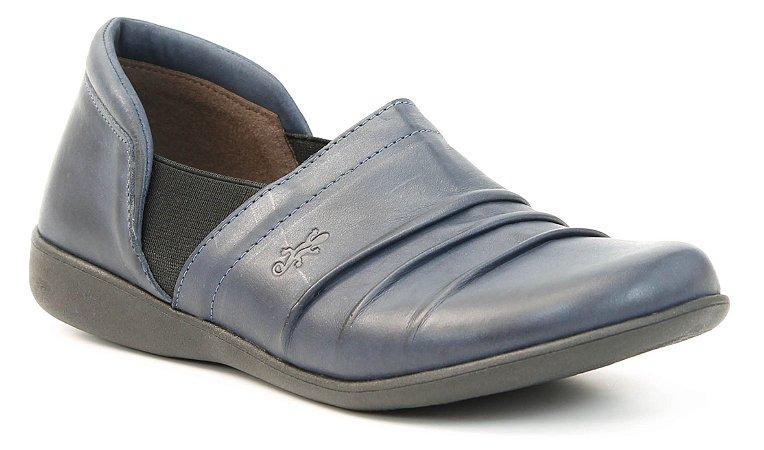 Sapato Feminino em couro Wuell Casual Shoes - Lavras Novas - VN 108641- marinho