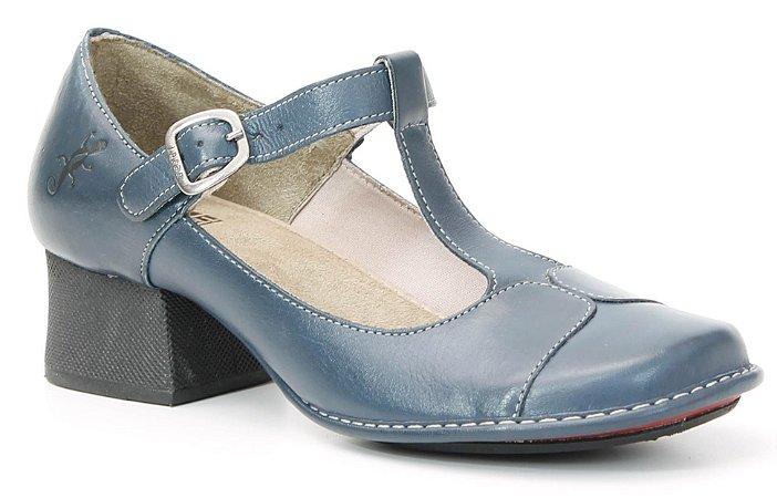 Sapato feminino de salto em couro Wuell Casual Shoes - Tiradentes - KC 6100 - navy