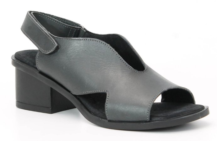 Sandália feminina em couro salto médio Wuell Casual Shoes - Catas Altas - NMB 03279 - chumbo