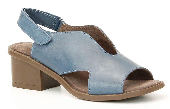 Sandália feminina em couro salto médio Wuell Casual Shoes - Catas Altas - NMB 03279 - marinho