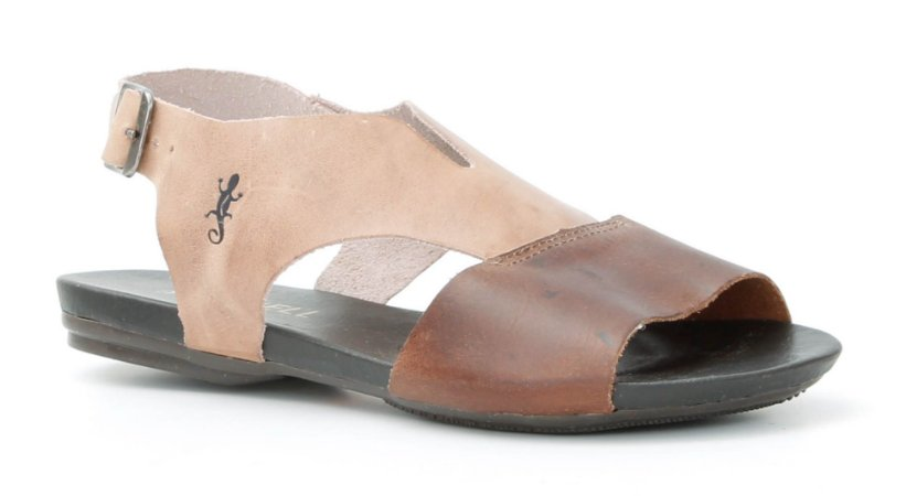 Sandália feminina em couro Wuell Casual Shoes -Ouro Preto - VC 84710 - rosa e telha