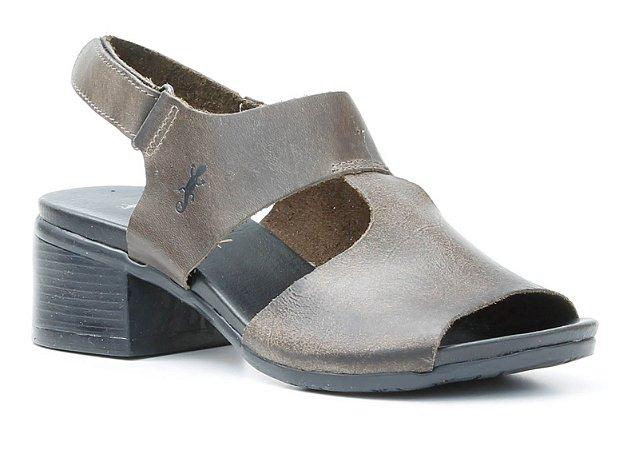 Sandália de salto médio feminina em couro Wuell Casual Shoes - Ouro Preto - VC 00350 -oliva