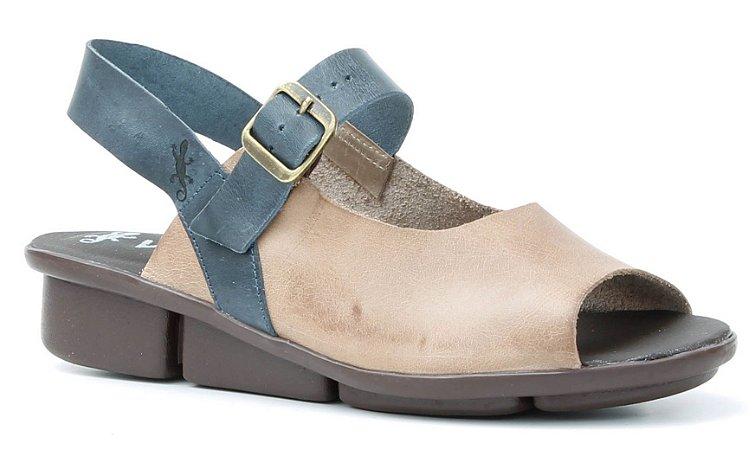 Sandália de salto anabela feminina em couro Wuell Casual Shoes - Congonhas - RO 06311 -areia e marinho