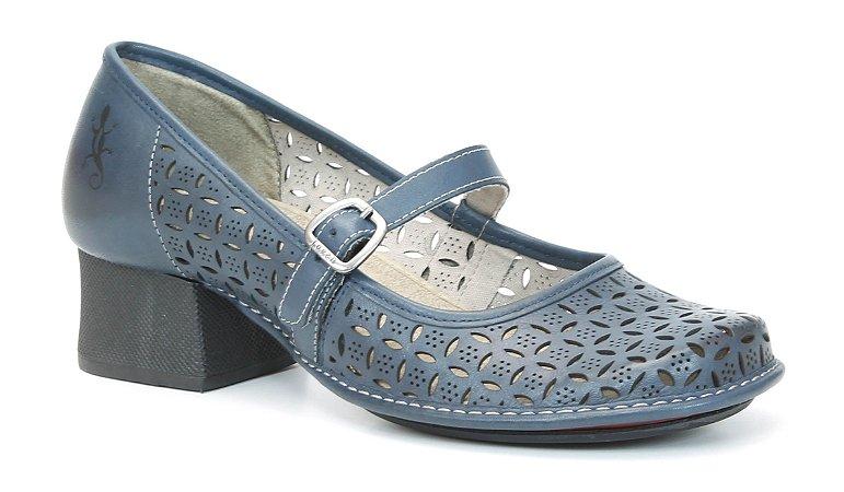 Sapato Feminino em couro salto médio Wuell Casual Shoes - Koya - KC 4200 - navy