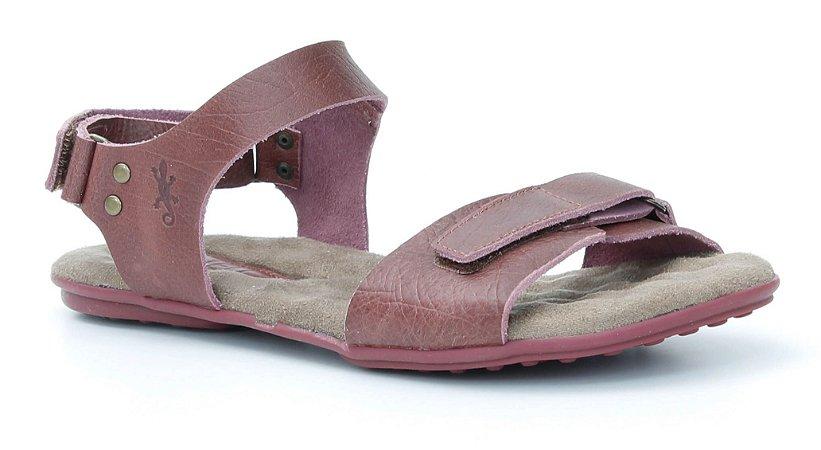 Sandália Rasteira Feminina em couro Wuell Casual Shoes - Lavras Novas  - VN 222232 - bordô