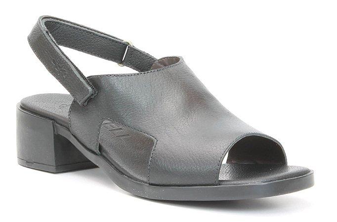 Sandália Feminina em couro salto médio Wuell Casual Shoes - Diamantina - ZM 0349 - preta