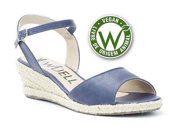 Sandália salto Anabela Feminina Wuell Casual Shoes - Vegan 446170 -marinho