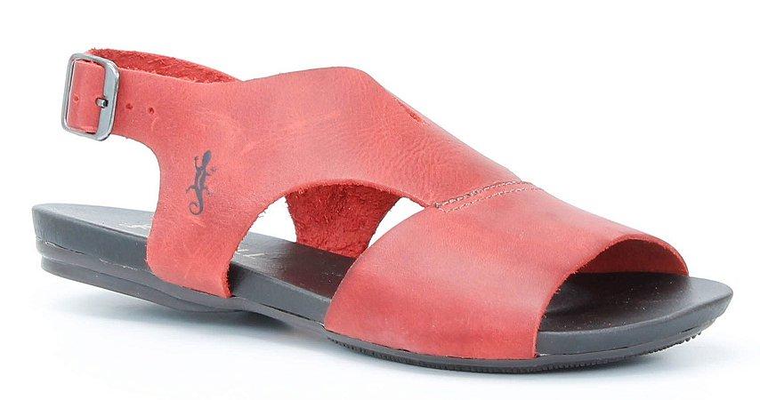 Sandália Rasteira feminina em couro Wuell Casual Shoes -Ouro Preto - VC 84710 - vermelho