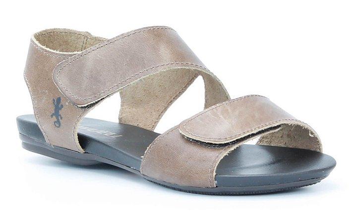 Sandália Rasteira feminina em couro Wuell Casual Shoes -Ouro Preto - VC 96310 - marrom