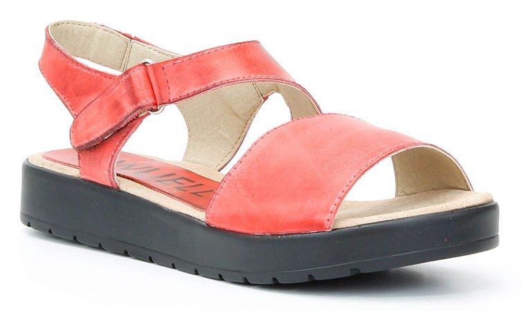 Sandália feminina em couro Wuell Casual Shoes - Ouro Branco - AB 07220 - vermelha