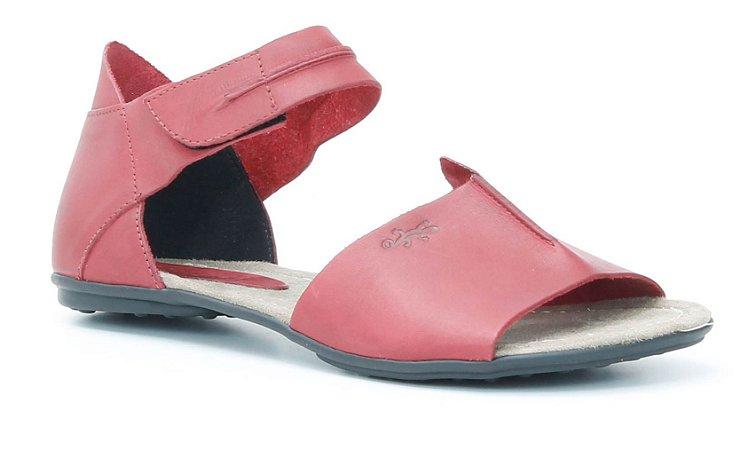 Sandália Rasteira Feminina em couro Wuell Casual Shoes - Lavras Novas  - VN 244231- vermelha