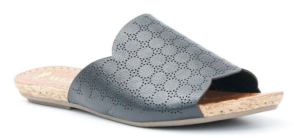Sandália feminina baixa em couro Wuell Casual Shoes - Mariana- DO 59513 - preta
