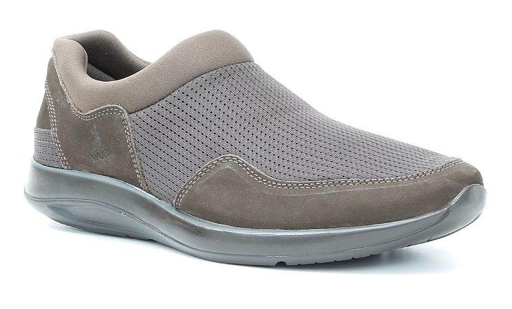 Tênis Casual Masculino em tecido e couro Wuell Casual Shoes - Caraça - TPS 60340 - Marrom