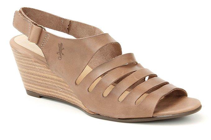 Sandália Feminina Salto Anabela em couro Wuell Casual Shoes - Lavras Novas  - VN 154400 - marrom