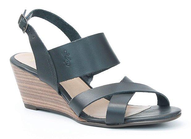 Sandália Feminina Salto Anabela em couro Wuell Casual Shoes - Lavras Novas  - VN 152400 - preta