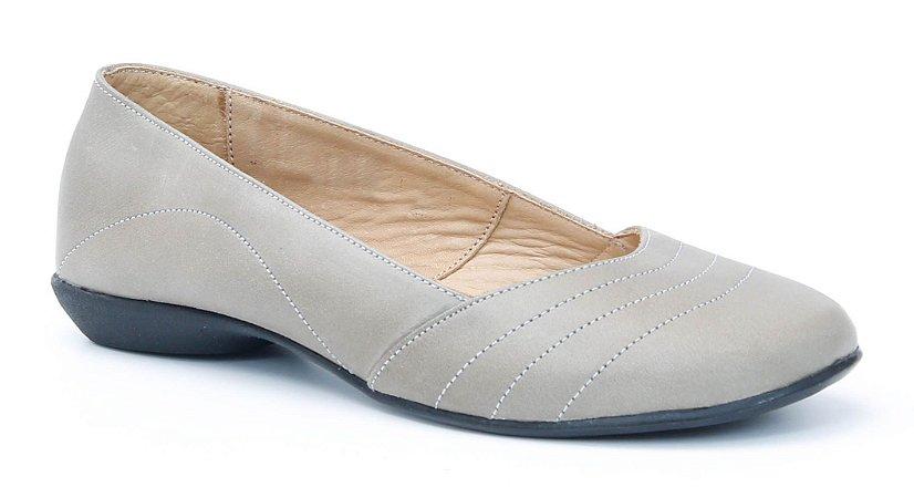 Sapato Feminino em couro Wuell Casual Shoes - Catas Altas - NMB 7601 - cinza