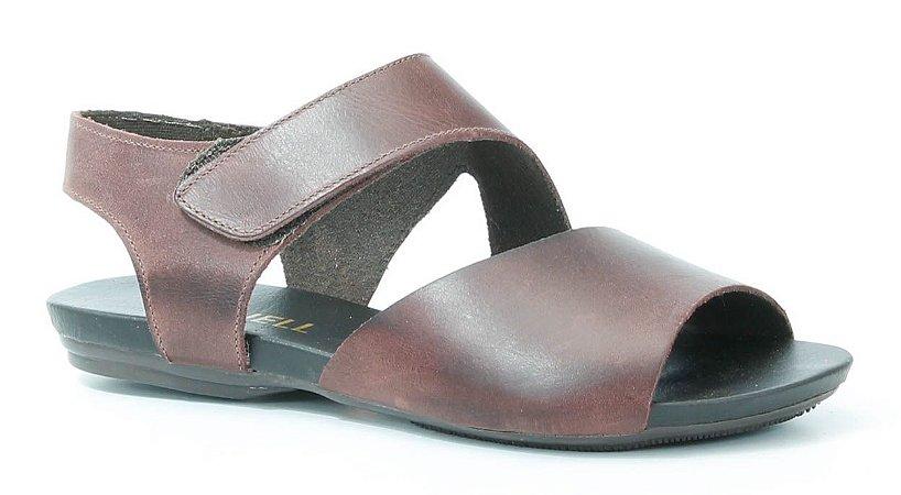 Sandália Rasteira feminina em couro Wuell Casual Shoes -Ouro Preto - VC 02010 - bordô