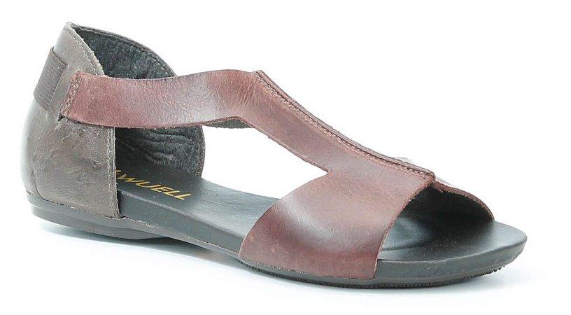 Sandália Rasteira feminina em couro Wuell Casual Shoes -Ouro Preto -VC 85010 - marrom e bordô