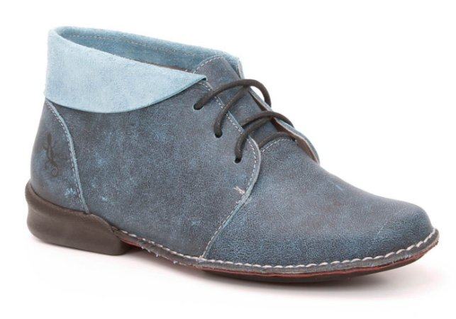 Bota Feminina cano curto em couro Wuell Casual Shoes - KOYA - VC 0400 - azul