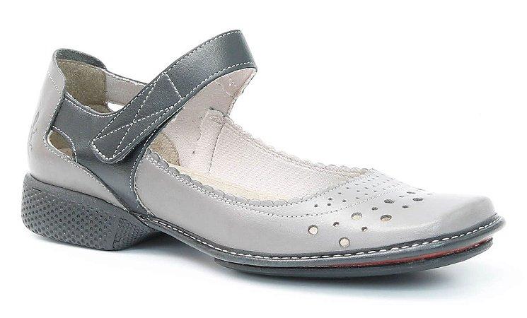Sapato Feminino em couro Wuell Casual Shoes - YC 0300 - cinza e preto